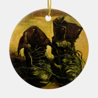 Van Gogh A Pair of Shoes, Vintage Still Life Art Round Ceramic Decoration