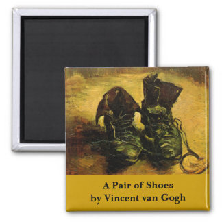 Van Gogh A Pair of Shoes, Vintage Still Life Art Square Magnet