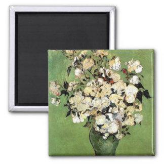 Van Gogh: A Vase of Roses Square Magnet