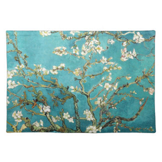 Van Gogh Almond Blossoms art white flowers on blue Placemat