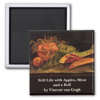 Van Gogh Apples Meat Roll Vintage Still Life Art Square Magnet