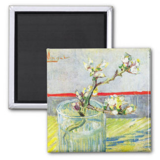 Van Gogh Art, Blossoming Almond Branch in a Glass Magnet