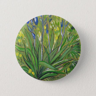 Van Gogh art  Irises, acrylic reproduction 6 Cm Round Badge