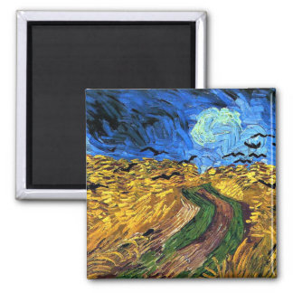 Van Gogh art: Wheatfield with Crows Square Magnet