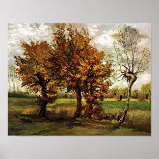 Van Gogh Autumn Landscape Four Trees (F44) Print