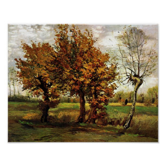 Van Gogh Autumn Landscape Four Trees F44 Print