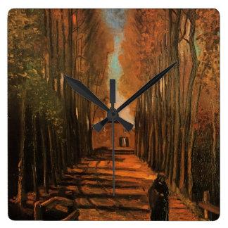 Van Gogh Avenue of Poplars in Autumn, Fine Art Wallclocks