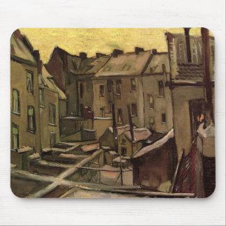 Van Gogh Backyards of Old Houses, Antwerp in Snow Mouse Pad