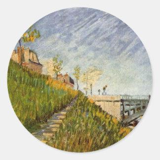 Van Gogh; Banks of the Seine with Pont de Clichy Round Sticker