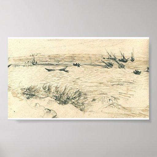 Van Gogh - Beach, Sea, and Fishing Boats Posters