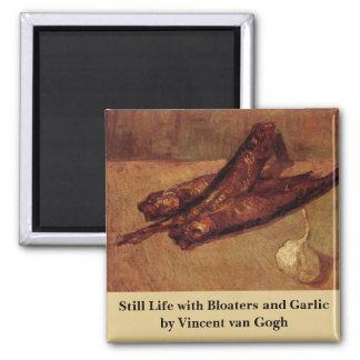 Van Gogh, Bloaters Garlic, Vintage Still Life Art Square Magnet