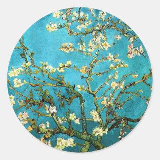 Van Gogh Blossoming Almond Tree Fine Art Round Sticker