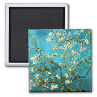 Van Gogh Blossoming Almond Tree Fine Art Square Magnet