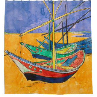 Van Gogh Boats Colorful Shower Curtain