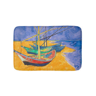 Van Gogh Boats on the Beach of Saintes-Maries Bath Mat