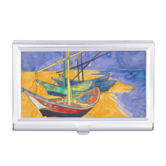 Van Gogh Boats on the Beach of Saintes-Maries Business Card Holder