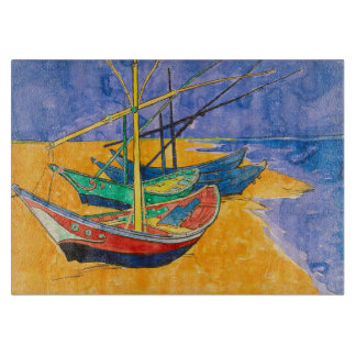 Van Gogh Boats on the Beach of Saintes-Maries Cutting Board