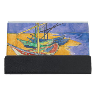 Van Gogh Boats on the Beach of Saintes-Maries Desk Business Card Holder