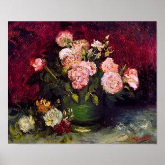Van Gogh Bowl Peonies and Roses Fine Art Poster