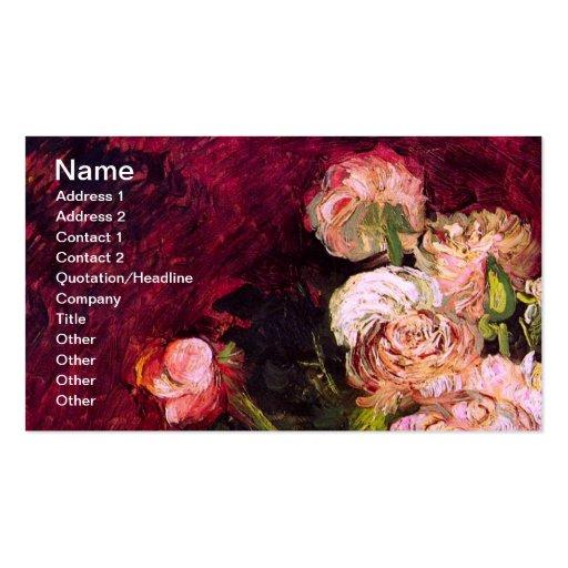 Van Gogh Bowl Peonies & Roses (F249) Fine Art Business Card Template