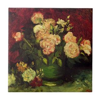 Van Gogh; Bowl with Peonies and Roses Ceramic Tile