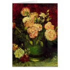 Van Gogh Bowl with Peonies and Roses, Fine Art Card