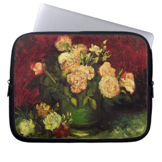Van Gogh Bowl with Peonies and Roses, Fine Art Laptop Sleeve