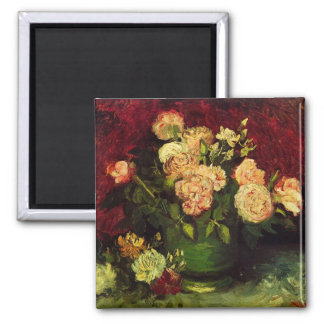 Van Gogh Bowl with Peonies and Roses, Fine Art Square Magnet