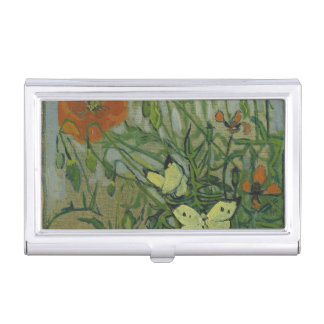 Van Gogh butterflies and poppies Business Card Case