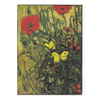 Van Gogh Butterfly Poppies Flowers Peace Destiny Postcard