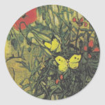 Van Gogh Butterfly Poppies Flowers Peace Destiny Round Sticker