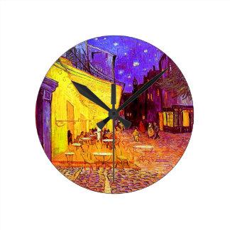 Van Gogh Cafe Terrace at Night Round Clock