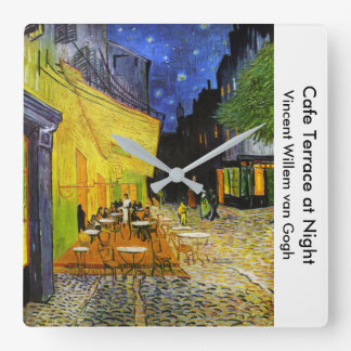 "Van Gogh, ""Cafe Terrace at Night"" Square Wall Clock"
