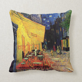 Van Gogh, Cafe Terrace at Night, Vintage Fine Art Throw Pillow