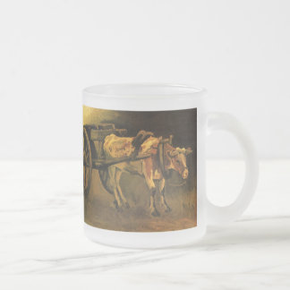 Van Gogh Cart with Red White Ox, Vintage Fine Art Frosted Glass Mug