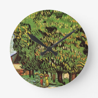 Van Gogh Chestnut Trees in Blossom, Fine Art Wall Clocks