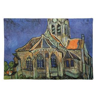 Van Gogh Church at Auvers, Vintage Architecture Cloth Place Mat