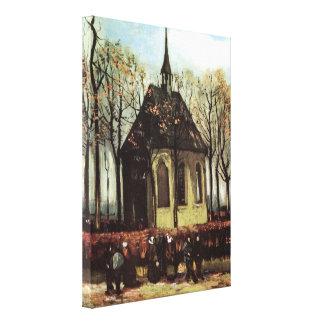 Van Gogh; Congregation Leaving the Reformed Church Canvas Print