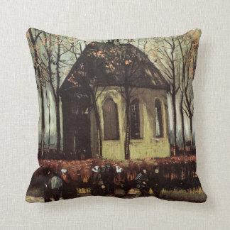 Van Gogh Congregation Leaving the Reformed Church Cushion
