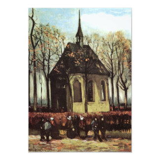 "Van Gogh; Congregation Leaving the Reformed Church 5"" X 7"" Invitation Card"