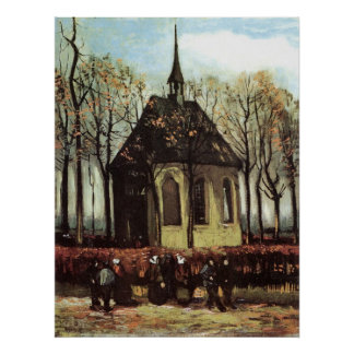 Van Gogh Congregation Leaving the Reformed Church Poster