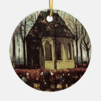 Van Gogh Congregation Leaving the Reformed Church Round Ceramic Decoration