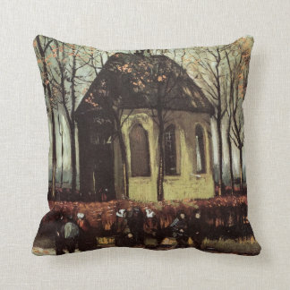 Van Gogh Congregation Leaving the Reformed Church Throw Pillow