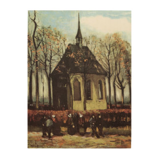 Van Gogh Congregation Leaving the Reformed Church Wood Print