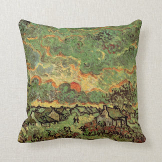 Van Gogh Cottages Cypresses Reminiscence of North Cushion