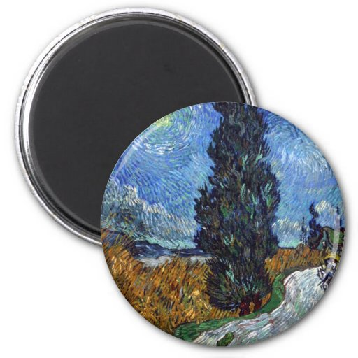 Van Gogh- Country Road in Provence by Night Refrigerator Magnet