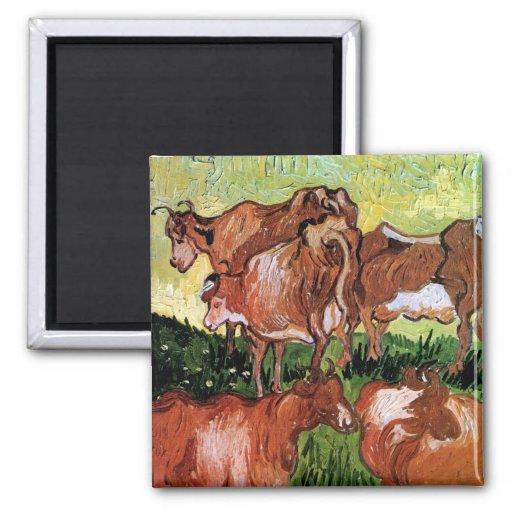 Van Gogh Cows Magnet