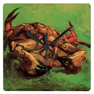 Van Gogh Crab on Its Back, Vintage Still Life Art Square Wall Clock