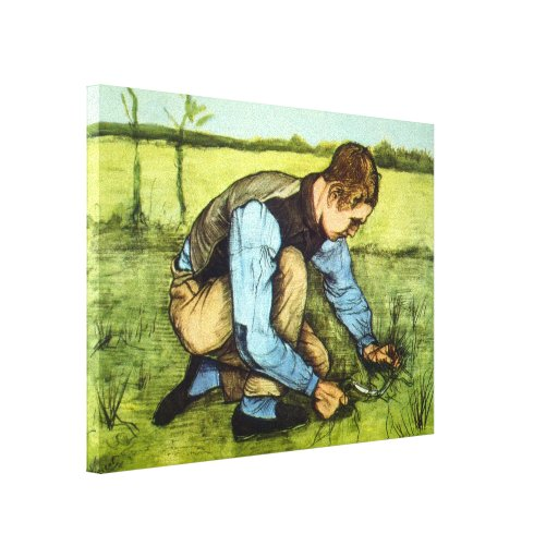 Van Gogh - Cutting Grass Gallery Wrapped Canvas