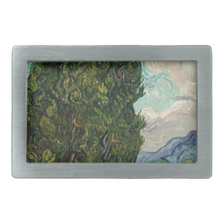 Van Gogh Cypresses Rectangular Belt Buckles